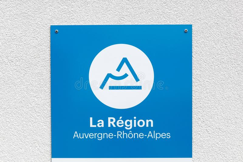 Region Auvergne Rhone-Alpes in France sign on a wall. Lyon, France - July 27, 2017: Region Auvergne Rhone-Alpes in France sign on a wall. Auvergne Rhone-Alpes is royalty free stock photography