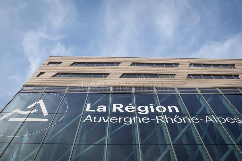 Region Auvergne Rhone Alpes logo in front of their main office. Also called AURA, it is a new administrative regional subdivision. LYON, FRANCE - JULY 18, 2019 stock photos