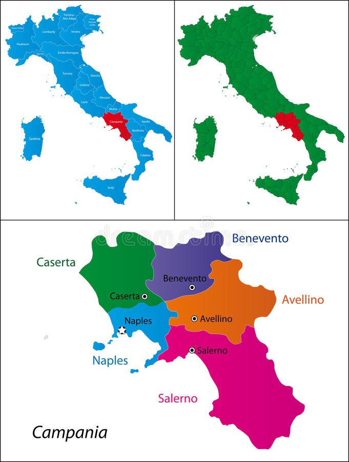 Region av Italien - Campania vektor illustrationer