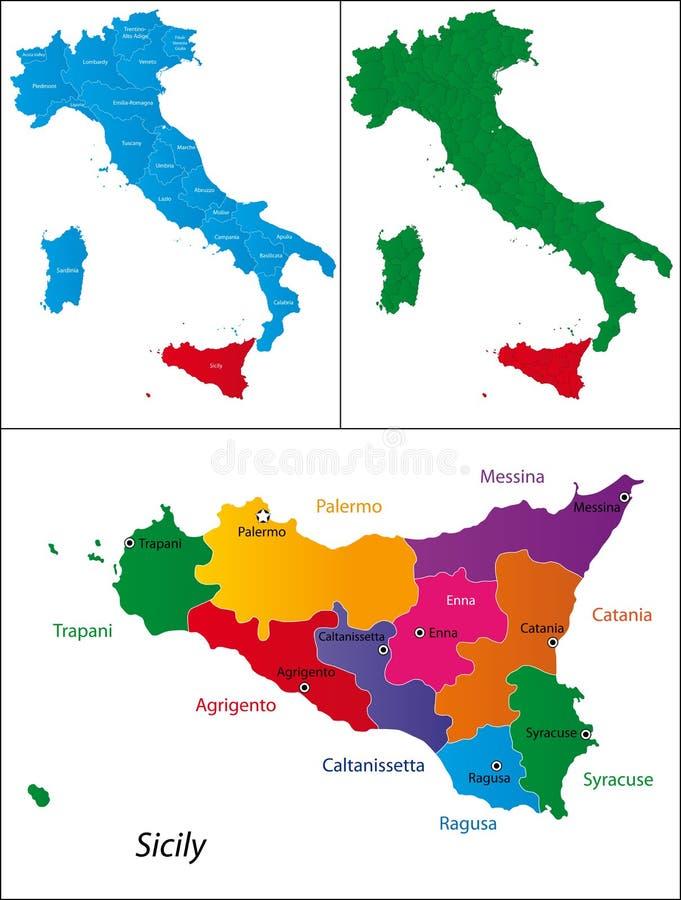 Region av Italien - Sicily royaltyfri illustrationer