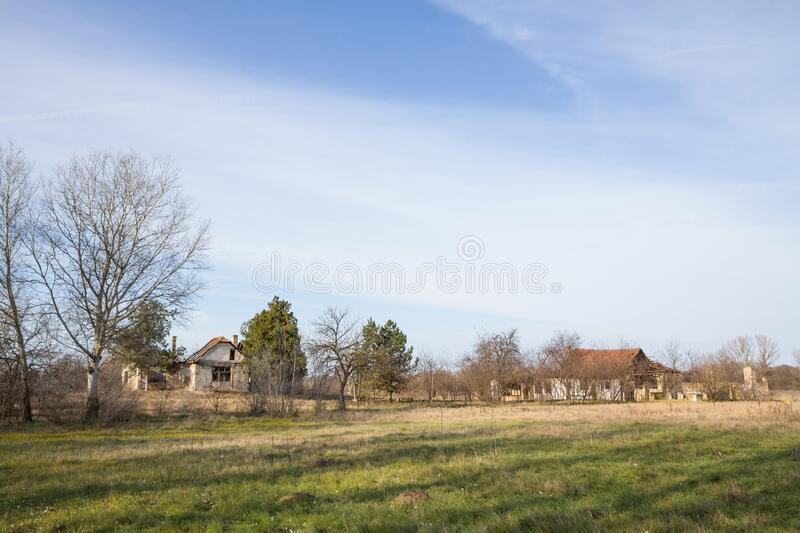 Panorama of an abandoned farm of Voivodina, in Serbia. stock image