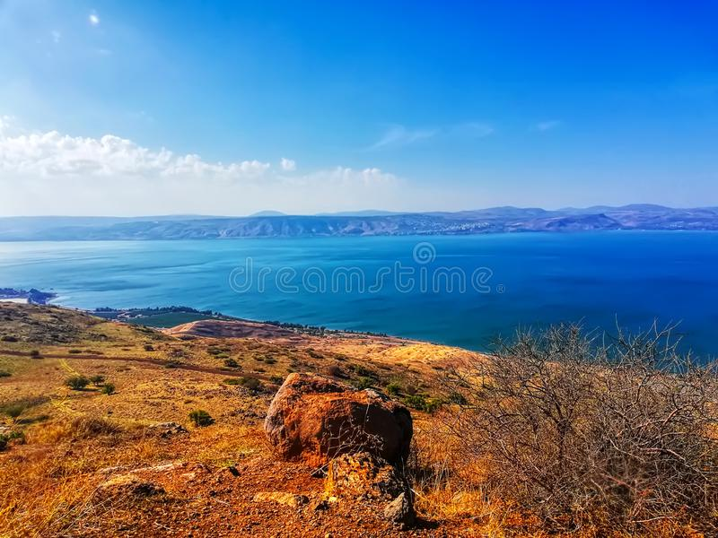 Region in Israel: Jordan Rift Valley, Golan Heights, Galilee. Sea of Galilee Hebrew: Kinneret or Kineret royalty free stock photo