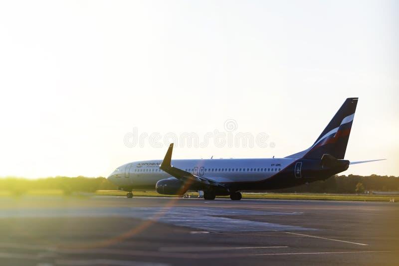 Region Sheremetyevo, Moskau, Russland - 17. September 2018 Aeroflot-Linie, stehend an internationalem Flughafen Sheremetyevo stockfoto