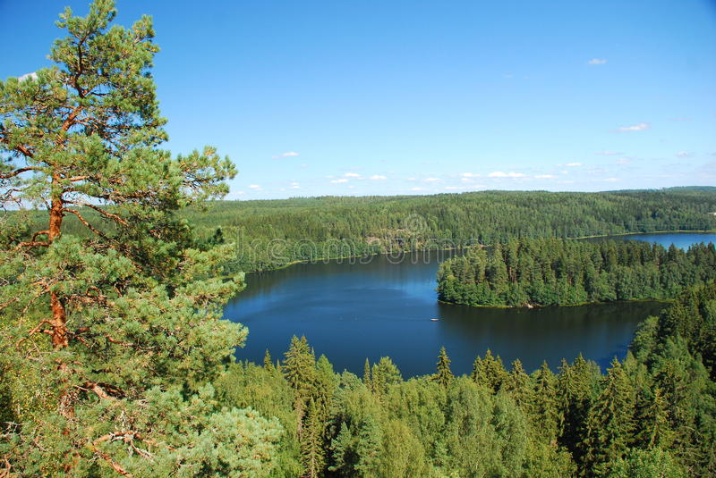 Region of thousand lakes. Beautiful view on the Region of thousand lakes in Finland stock photos