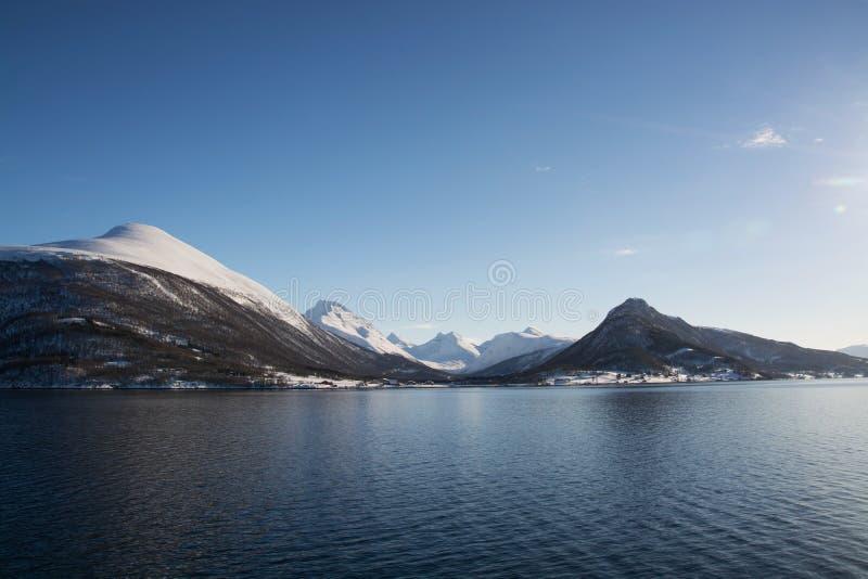 The region Troms, Norway. Landcsape in the region Troms in Norway in winter time stock photo