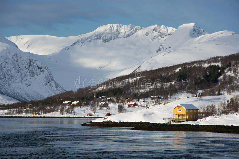 The region Troms, Norway. Landcsape in the region Troms in Norway in winter time stock images