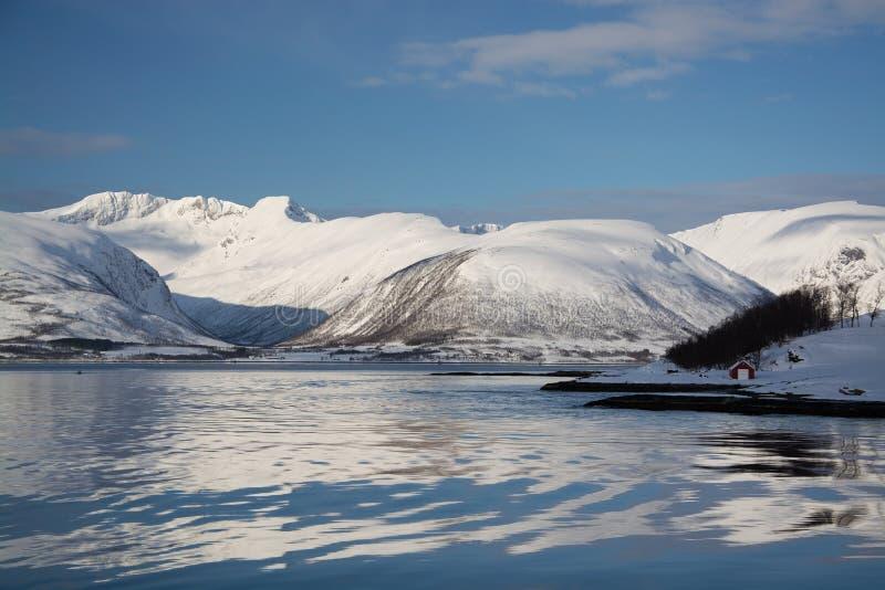 The region Troms, Norway. Landcsape in the region Troms in Norway in winter time stock photos