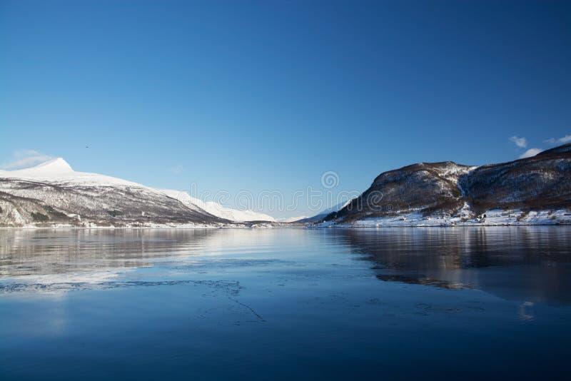 The region Troms, Norway. Landcsape in the region Troms in Norway in winter time royalty free stock images