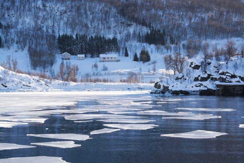 The region Troms, Norway. Landcsape in the region Troms in Norway in winter time stock image