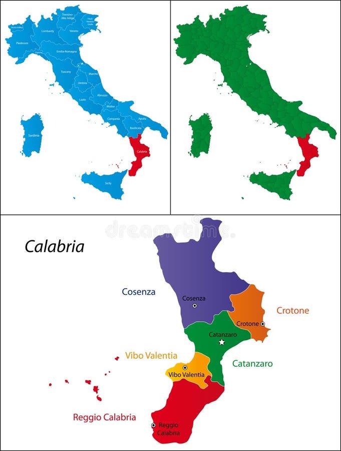 Region Włochy - Calabria ilustracja wektor