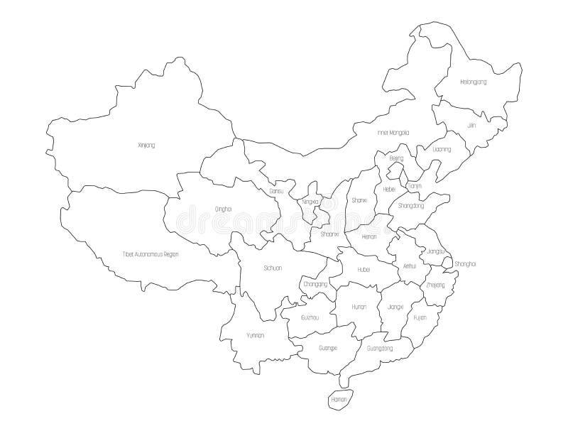 Regional översikt av administrativa landskap av Kina Tunn svart översikt på vit bakgrund också vektor för coreldrawillustration royaltyfri illustrationer