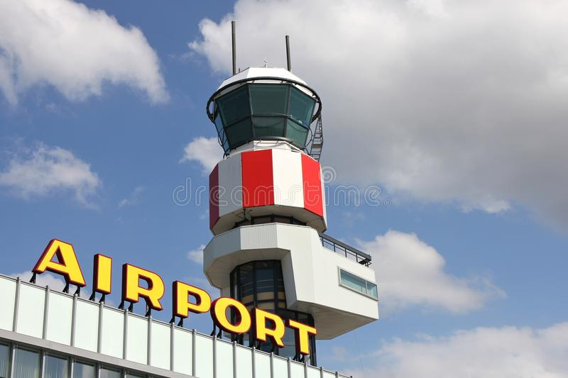 Regional airport. Air traffic control tower at regional airport stock photo