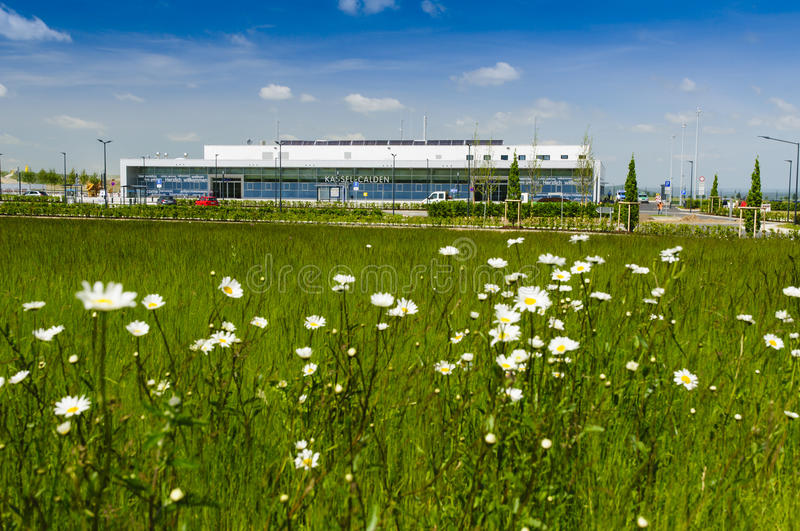 Regional airport Kassel, Germany. The main building with the entrance of the 2013 newly opened airport Kassel-Calden Surrounded by flower meadow royalty free stock images