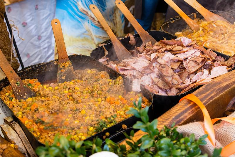 Regional dishes in fair at market square in Krakow Poland stock photography