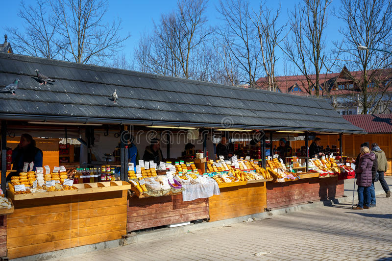 Regional food products at marketplace royalty free stock image