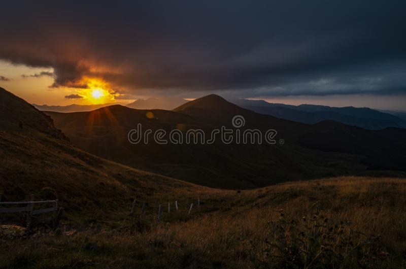 Sunset over the Apennines in summer. Regional Park of Corno alle Scale, Tuscan Emilian Apennines, Italy stock image