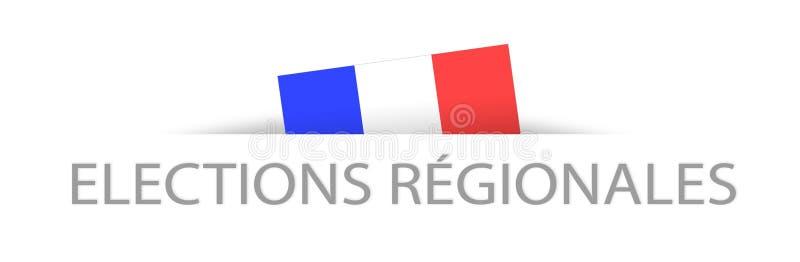 Regionala val i franskt med en del dold fransk flagga stock illustrationer