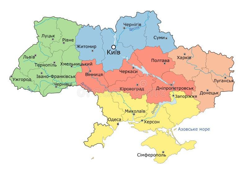 Regionale kaart van de Oekraïne vector illustratie