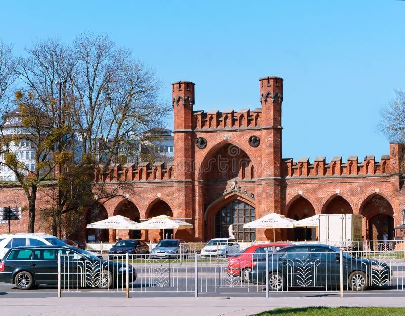Regionales bernsteinfarbiges Museum Kaliningrads, ziehen Turm, Rossgarten-Tor an lizenzfreie stockbilder
