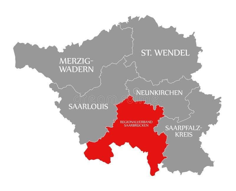 Regionalverband Saarbruecken czerwień podkreślająca w mapie Saarland Niemcy DE ilustracji