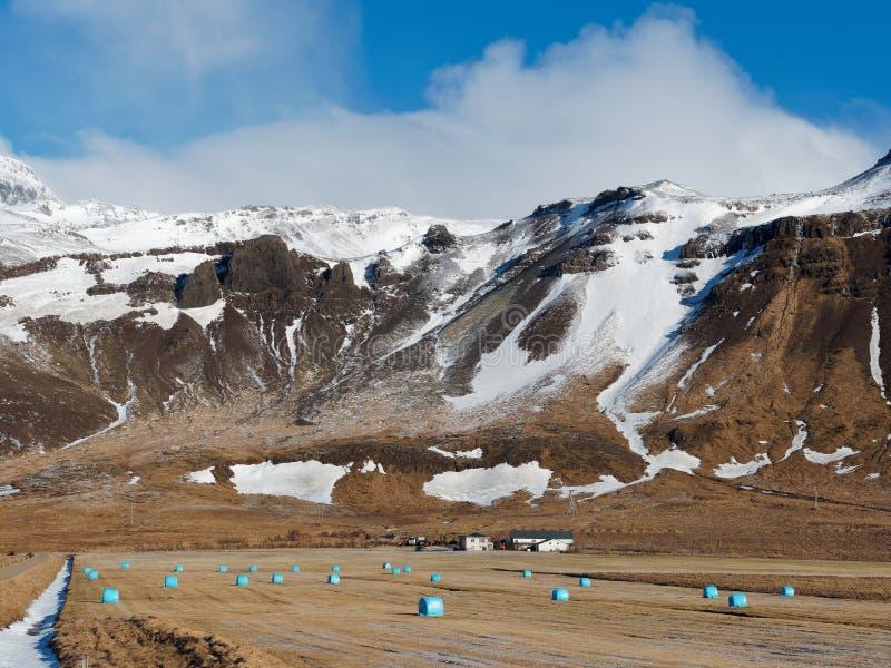 Regione ad ovest dell'Islanda nell'inverno, peninusla di Snaefellsness, area di Bodvarsholt, veduta dalla strada 54 fotografie stock libere da diritti