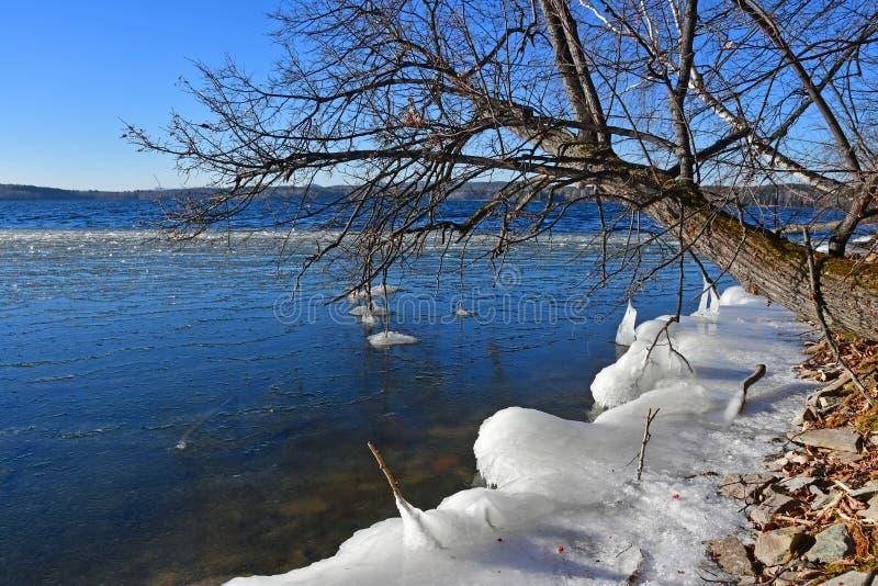 Regione della Russia, Ä?eljabinsk, monumento della natura - lago Uvildy Piccola sezione di ghiaccio vicino alla riva nel giorno s immagini stock libere da diritti