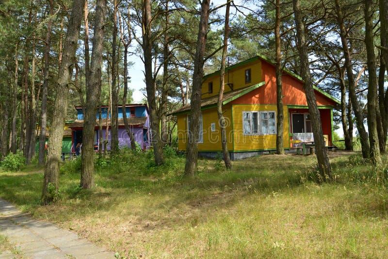 Regione di Kaliningrad, Russia Casette di estate nel legno di pino Campeggio della duna fotografie stock