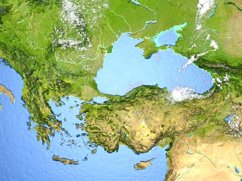 Regione di Mar Nero e della Turchia su pianeta Terra royalty illustrazione gratis
