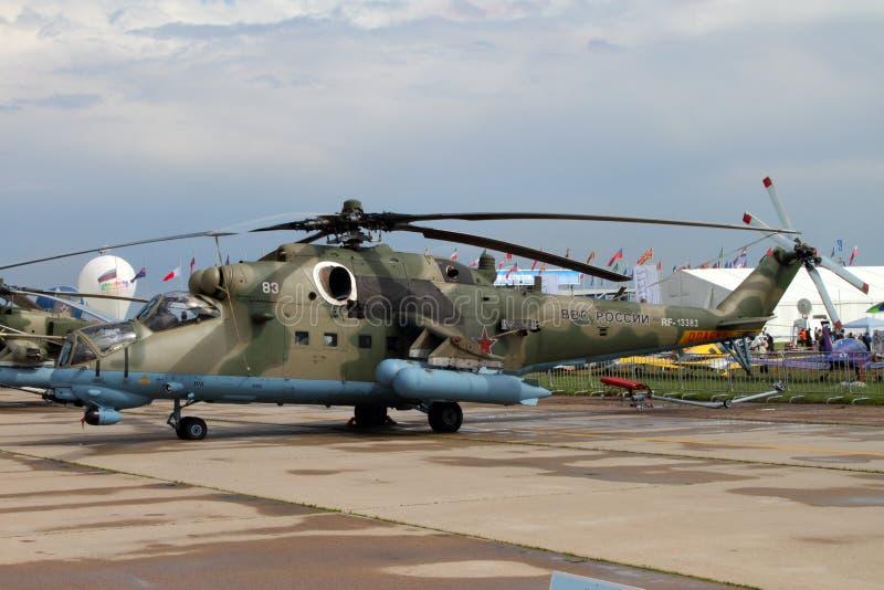 Regione di Mosca - 21 luglio 2017: Elicottero Mi-35M al Internat fotografia stock