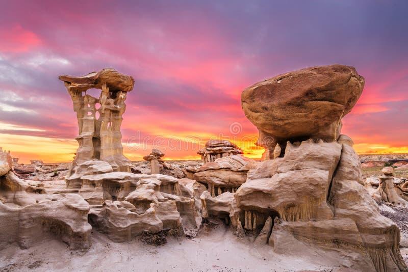 Regione selvaggia di Bisti/De-Na-Zin, New Mexico, U.S.A. immagini stock libere da diritti