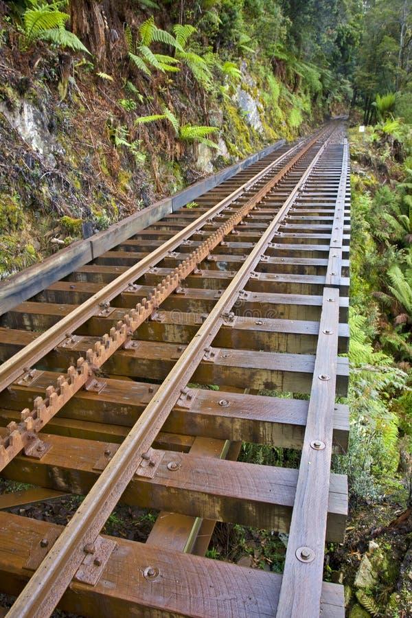 Regione selvaggia Strahan ferroviario Tasmania fotografia stock