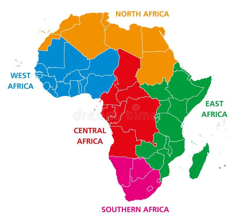Regionen politischer Karte Afrikas lizenzfreie abbildung