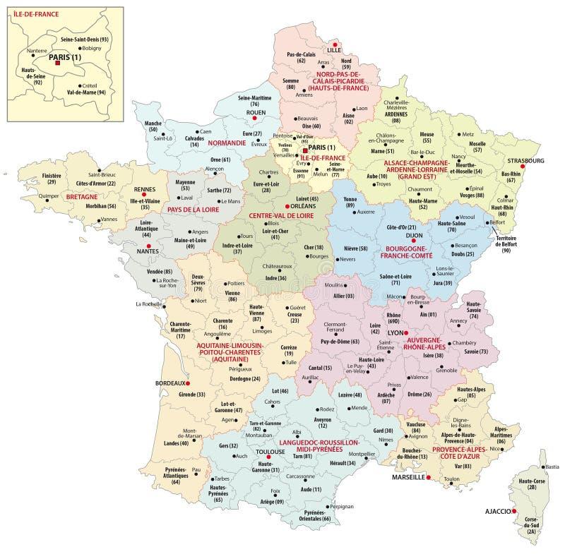 Regionen von Frankreich seit 2016 stock abbildung