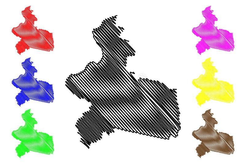 Regioner f?r region Mitt-Est av illustrationen f?r den Burkina Faso, Burkina Faso ?versiktsvektorn, klottrar skissar mittEst-?ver stock illustrationer