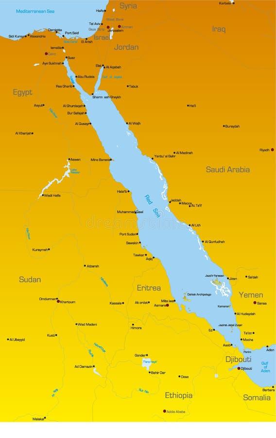 Regionländer för rött hav royaltyfri illustrationer