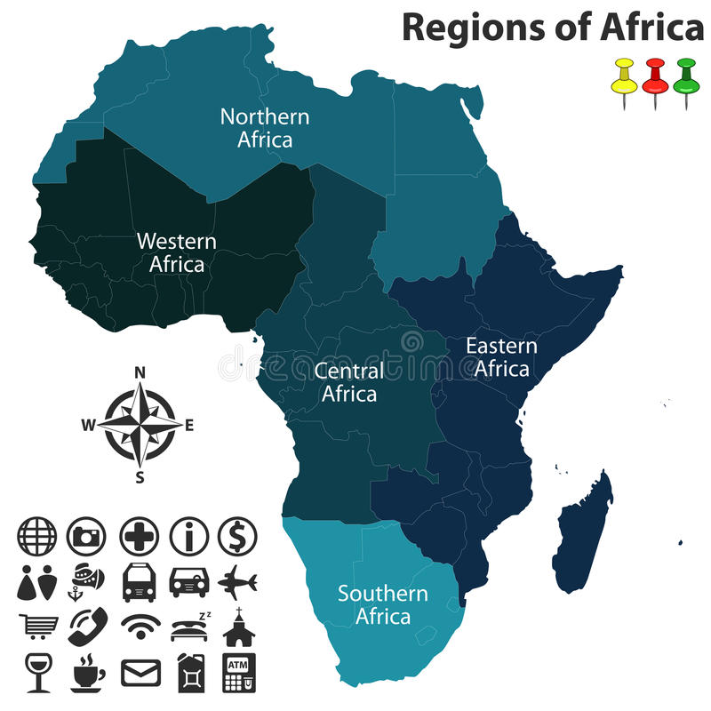 Regions of Africa stock vector Illustration of central 90589172