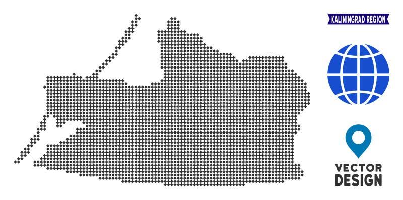 Regions-Karte Pixelated Kaliningrad stock abbildung