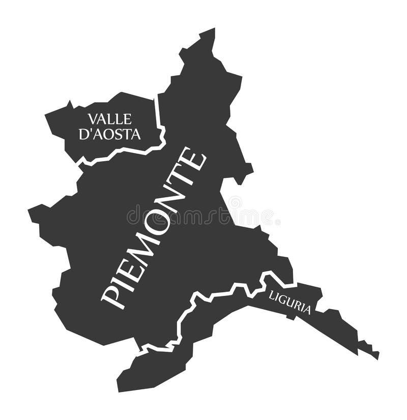 Regionskarte Italien Valle D Aosta - Piemonte - Liguriens lizenzfreie abbildung