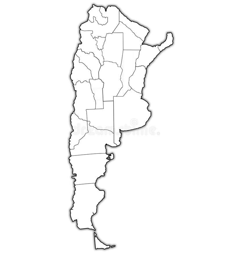 Regiony Argentina na kontur mapie ilustracja wektor