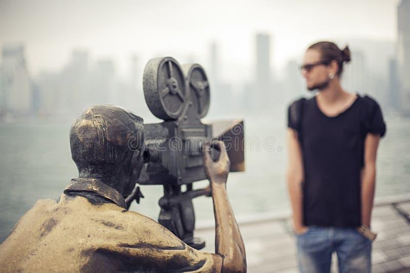 Regisseur en cameraman op reeks royalty-vrije stock foto