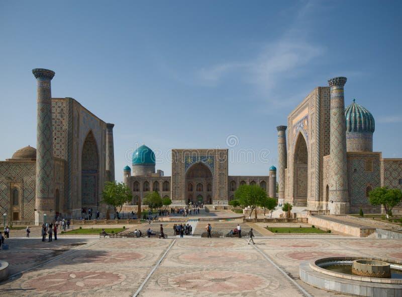 Registan尖塔,撒马而罕 免版税图库摄影