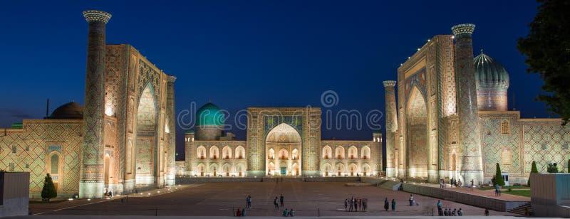 The Registan at night in Samarkand, Uzbekistan stock photo