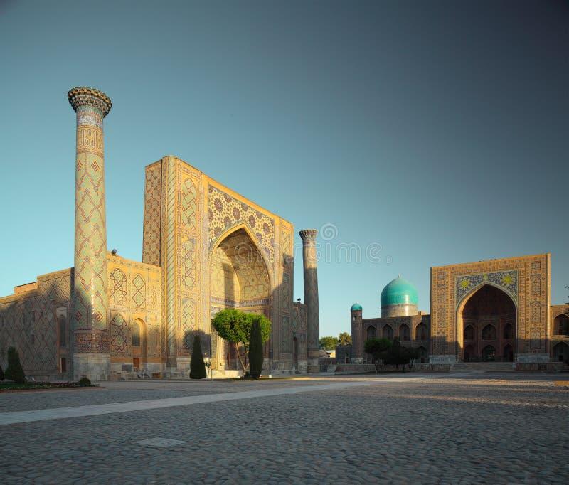 Registan. Square with oriental buildings. Samarkand, Uzbekistan royalty free stock photo