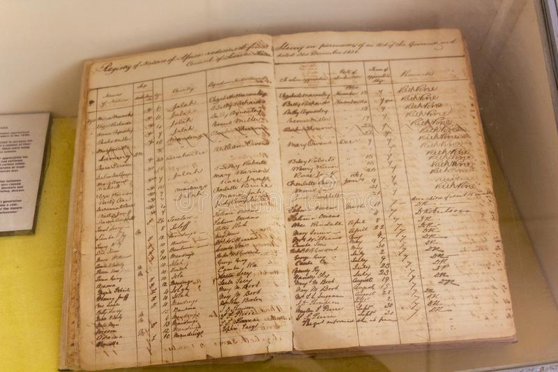 Register book with slave trades taking place in 1860 royalty free stock photos