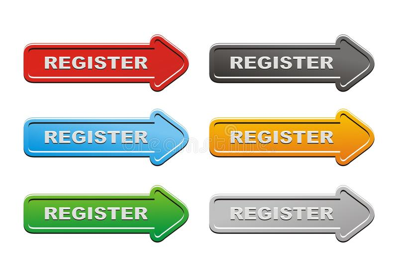Download Register buttons stock illustration. Image of glossy - 33255330