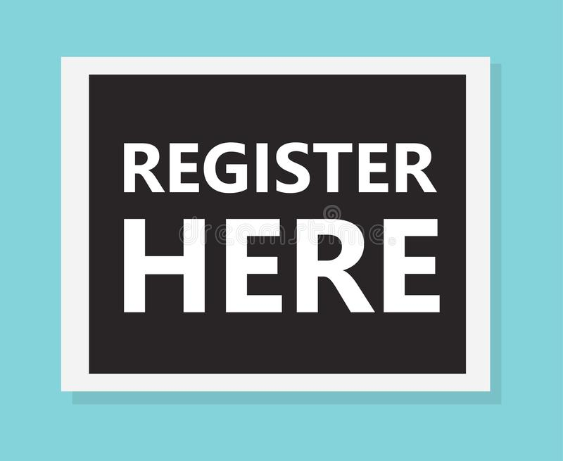 Register hier concept stock illustratie