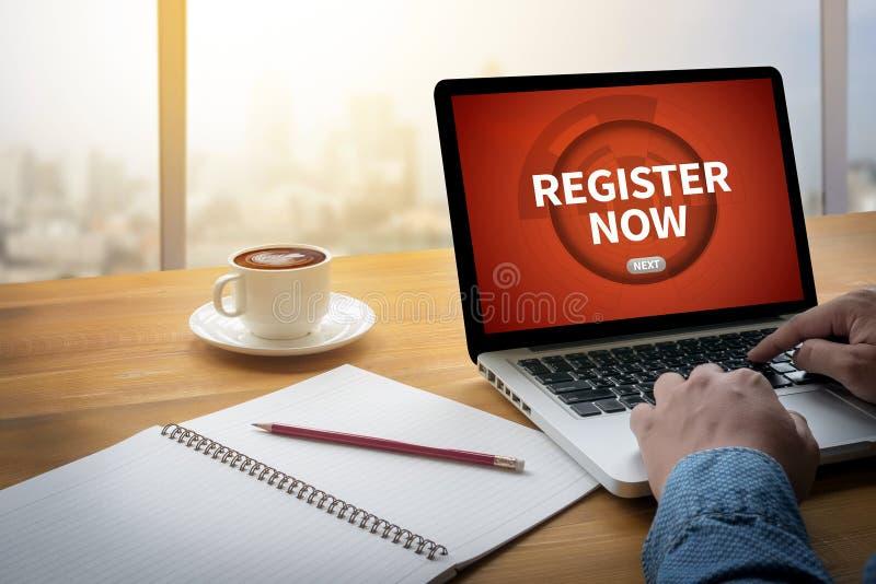 Register jetzt stockbild