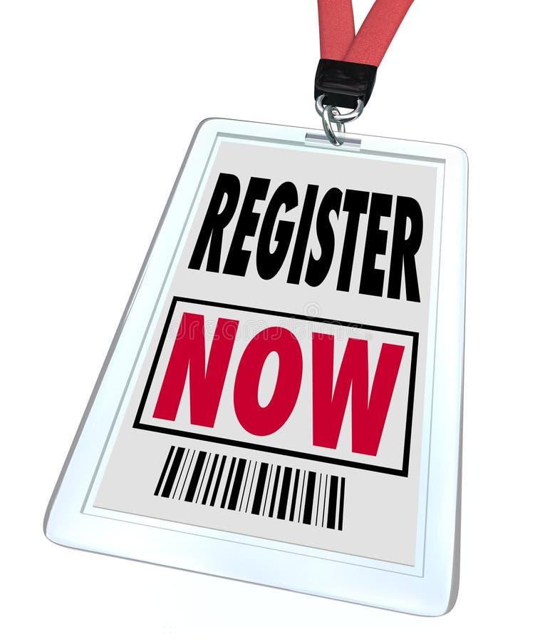 Register-jetzt - Ausrichtung für Messen-Ereignis lizenzfreie abbildung