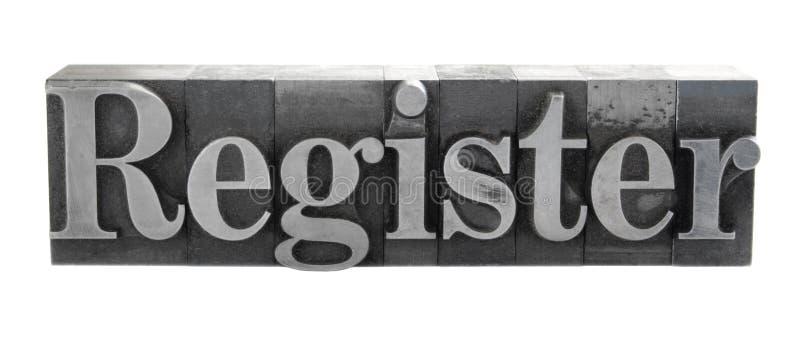 ?Register? in metaaltype stock fotografie