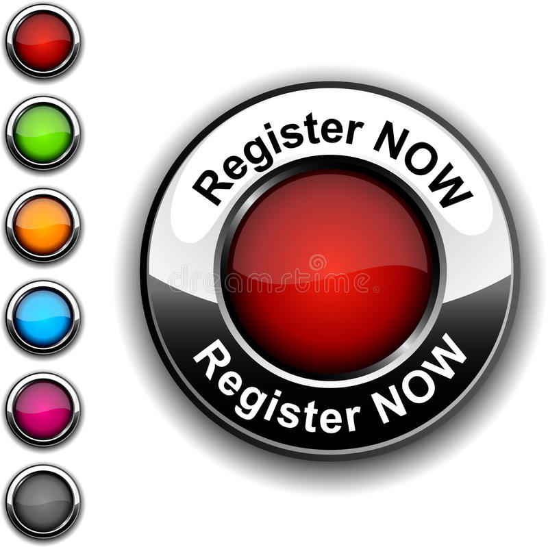 Register now button. Illustration of Register now realistic button